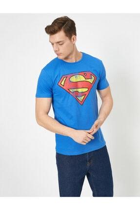 Koton Erkek Mavi Superman Lisansli Baskili T-Shirt 0YAM11216CK 1