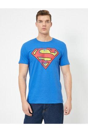 Koton Erkek Mavi Superman Lisansli Baskili T-Shirt 0YAM11216CK 2