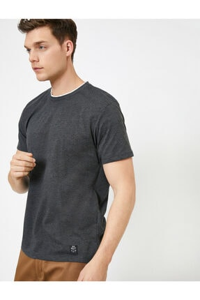 Koton Erkek Gri Bisiklet Yaka T-Shirt 0