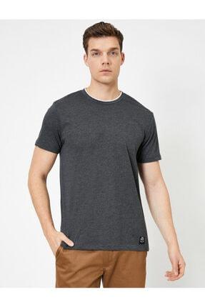Koton Erkek Gri Bisiklet Yaka T-Shirt 1