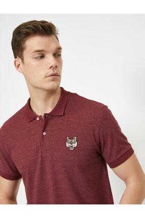 Koton Erkek Bordo Polo Yaka Kısa Kollu İşlemeli T-Shirt 0