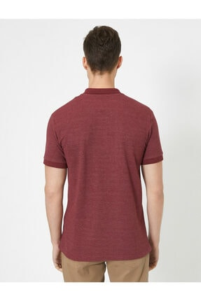 Koton Erkek Bordo Polo Yaka Kısa Kollu İşlemeli T-Shirt 3