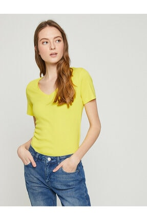 Koton Kadın Sari T-Shirt 0