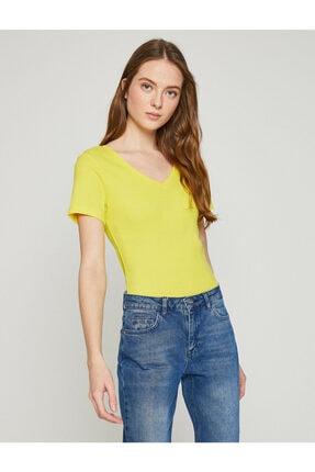 Koton Kadın Sari T-Shirt 1