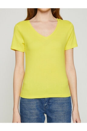 Koton Kadın Sari T-Shirt 2