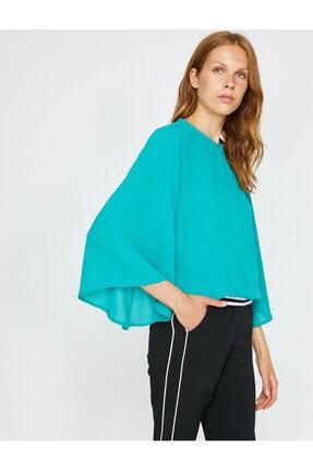 Koton Kadın Yeşil Volanlı Bluz 2