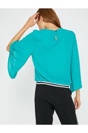 Koton Kadın Yeşil Volanlı Bluz 3