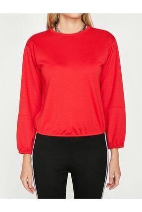 Koton Kadın Kırmızı Bisiklet Yaka Uzun Kollu T-Shirt 9YAL18596IK 0