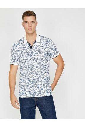 Erkek Lacivert Desenli Polo Yaka T-Shirt 9YAM12999LK