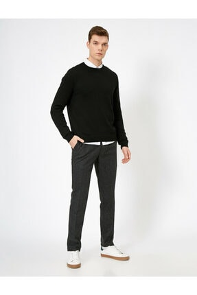 Koton Erkek Gri Cep Detaylı Pantolon 0