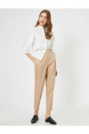 Koton Kadın Ekru Düğme Detaylı Pantolon 0