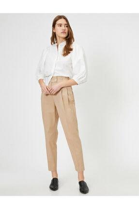 Koton Kadın Ekru Düğme Detaylı Pantolon 1