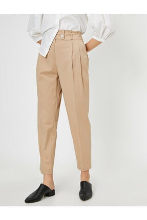 Koton Kadın Ekru Düğme Detaylı Pantolon 2