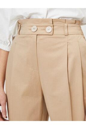 Koton Kadın Ekru Düğme Detaylı Pantolon 4