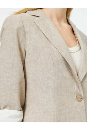 Koton Kadın Kahverengi Doğal Dokulu Kolları Katlı Ceket 4