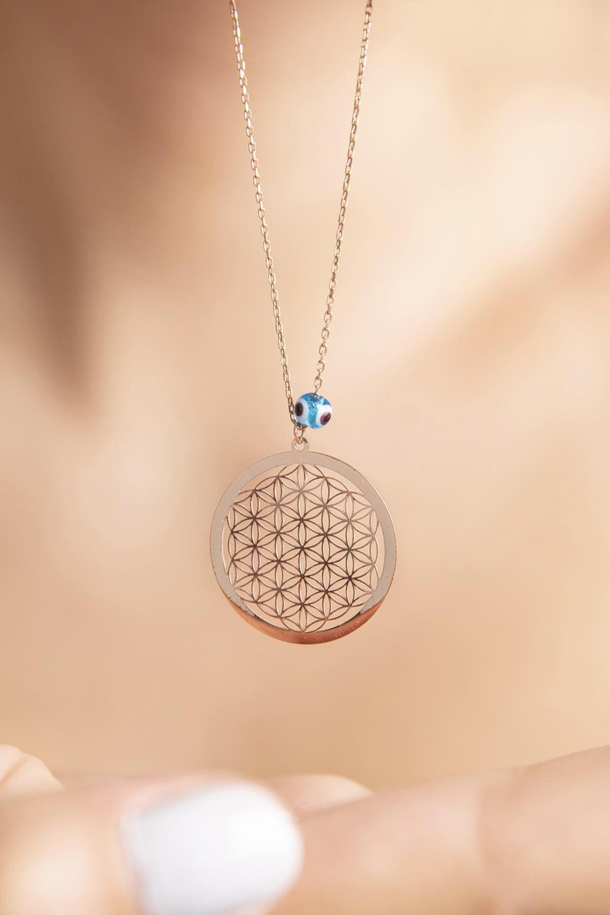 Yaşam Çiçeği Nazar Boncuklu Rose Kaplama 925 Ayar Gümüş Kolye