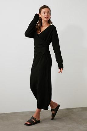 TRENDYOLMİLLA Siyah Kruvaze Bağlamalı Triko Elbise TWOAW21EL0260 0