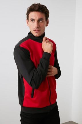 TRENDYOL MAN Kırmızı Erkek Panelli Fermuarlı Dik Yaka Slim Fit Sweatshirt TMNAW21SW0661 0