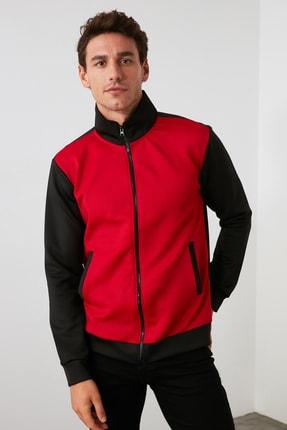 TRENDYOL MAN Kırmızı Erkek Panelli Fermuarlı Dik Yaka Slim Fit Sweatshirt TMNAW21SW0661 1