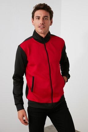 TRENDYOL MAN Kırmızı Erkek Panelli Fermuarlı Dik Yaka Slim Fit Sweatshirt TMNAW21SW0661 2