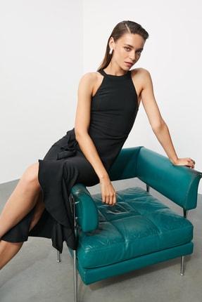TRENDYOLMİLLA Siyah Volan Detaylı Elbise TPRAW19BB0144 0