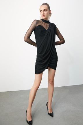 TRENDYOLMİLLA Siyah Puantiye Tül Detaylı Elbise TPRSS20EL0806 3