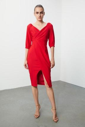 TRENDYOLMİLLA Kırmızı Drape Detaylı  Elbise TPRSS20AE0082 1