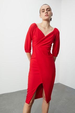 TRENDYOLMİLLA Kırmızı Drape Detaylı  Elbise TPRSS20AE0082 0
