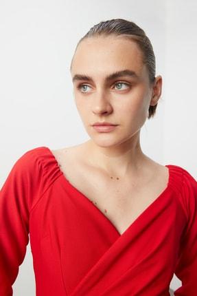 TRENDYOLMİLLA Kırmızı Drape Detaylı  Elbise TPRSS20AE0082 2