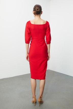 TRENDYOLMİLLA Kırmızı Drape Detaylı  Elbise TPRSS20AE0082 4