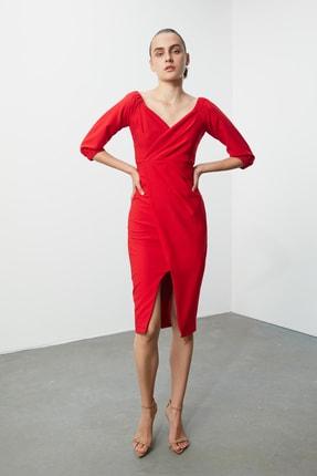 TRENDYOLMİLLA Kırmızı Drape Detaylı  Elbise TPRSS20AE0082 3
