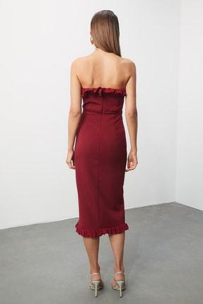 TRENDYOLMİLLA Bordo Aksesuar Detaylı Elbise TPRSS20EL0444 3
