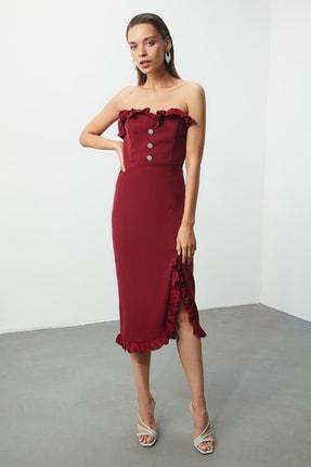 TRENDYOLMİLLA Bordo Aksesuar Detaylı Elbise TPRSS20EL0444 0