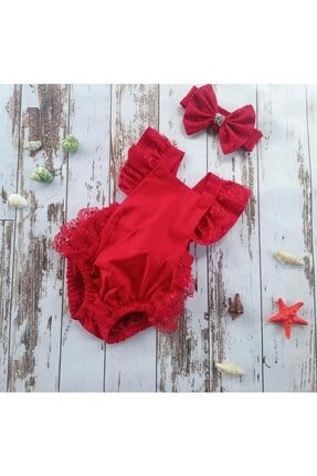 Asmin çocuk giyim Kız Çocuk Kırmızı Renk Romper Tulum 0