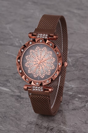 Polo55 Plkhm015r01 Kadın Saat Kahverengi Taşlı Çiçekli Şık Kadran Mıknatıslı Hasır Kordon 0