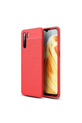 Oppo Reno 3 Deri Görünümlü Silikon Kılıf Kırmızı 0