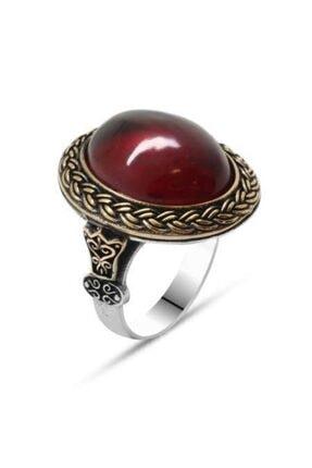 Gümüşkovan Kırmızı Ateş Kehribar Taşlı Oval Tasarım 925 Ayar Gümüş Erkek Yüzük 2