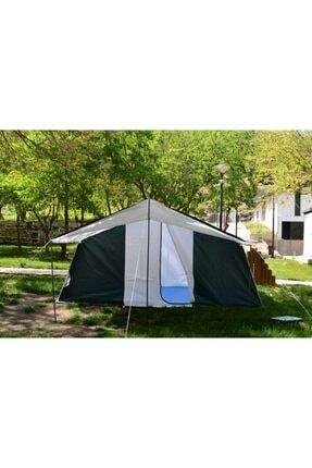 TUNÇ KAMP ÇADIRI Aile Tipi 2 Oda 1 Salon 8-10 Kişilik Kamp Çadırı - Yeşil 3