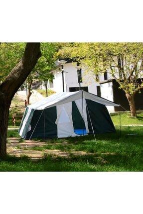 TUNÇ KAMP ÇADIRI Aile Tipi 2 Oda 1 Salon 8-10 Kişilik Kamp Çadırı - Yeşil 4
