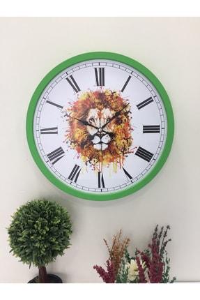 Platin Saat 36 Cm Ahşap Yeşil Aslan Temalı Duvar Saati 2
