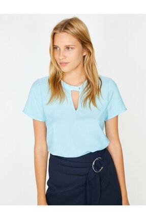 Koton Kadın Mavi Yaka Detaylı Bluz 0