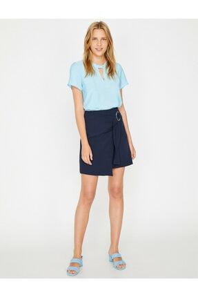 Koton Kadın Mavi Yaka Detaylı Bluz 1