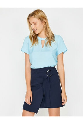 Koton Kadın Mavi Yaka Detaylı Bluz 2