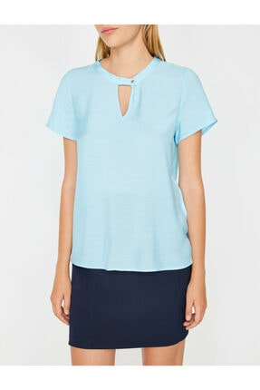 Koton Kadın Mavi Yaka Detaylı Bluz 3