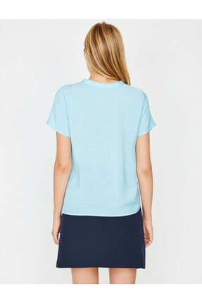 Koton Kadın Mavi Yaka Detaylı Bluz 4