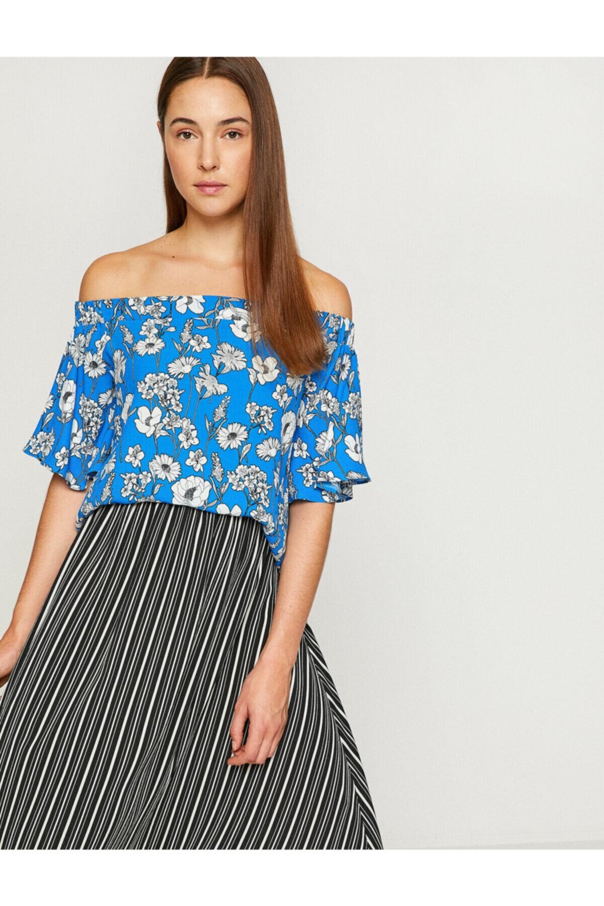 Kadın Mavi Omzu Açık Bluz 8YAK68746PW