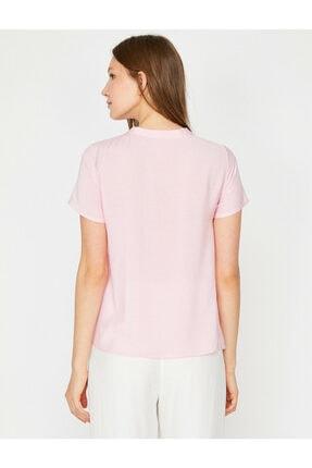 Koton Kadın Pembe Yaka Detaylı Bluz 3