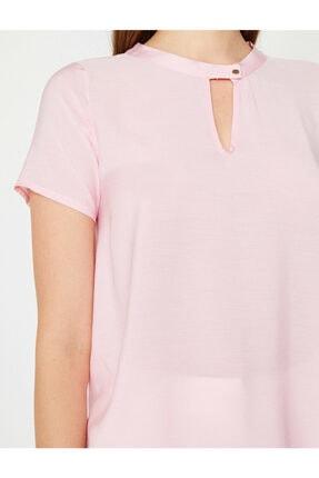 Koton Kadın Pembe Yaka Detaylı Bluz 4