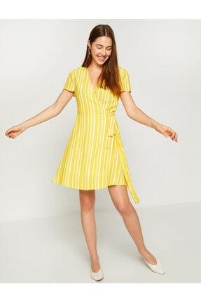 Koton Kadın Sarı Beli Bağlamalı Elbise 8YAK82461UW 1