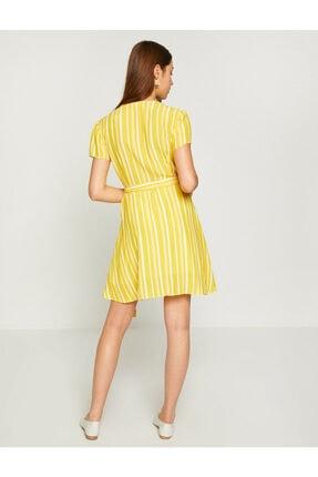 Koton Kadın Sarı Beli Bağlamalı Elbise 8YAK82461UW 3